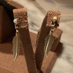 Sterling Silver Opal Feather Earrings